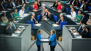 Chancellor Angela Merkel speaks during the general budget debate in the German Bundestag.