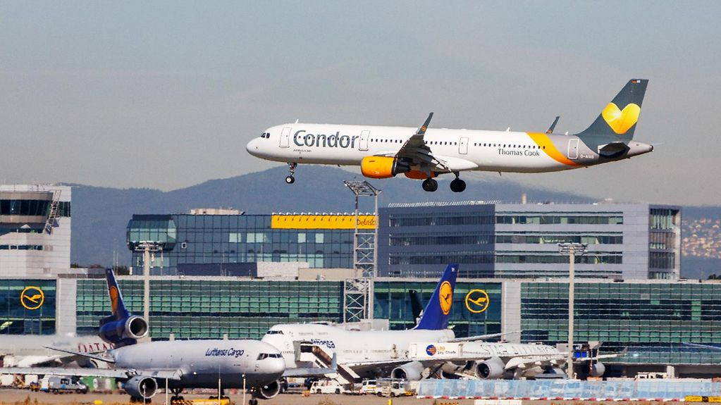 A Condor plane takes off in Frankfurt am Main.