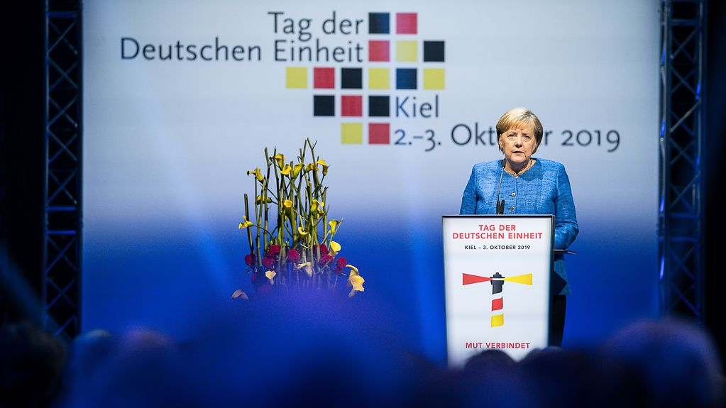 Chancellor Angela Merkel speaks at the Day of German Unity celebrations in Kiel.