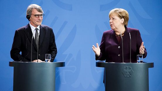 Chancellor Angela Merkel and David Maria Sassoli, President of the European Parliament