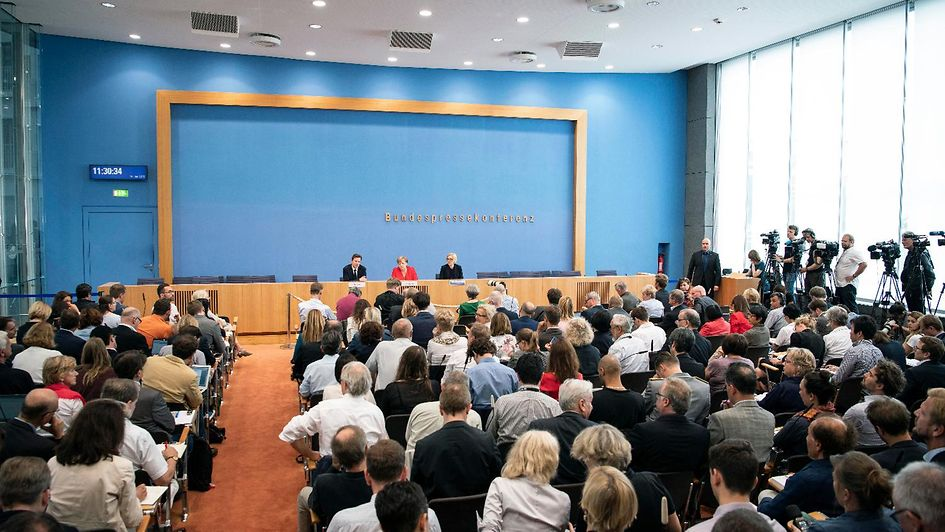 Journalists put their questions to Chancellor Angela Merkel st the Federal Press Conference..