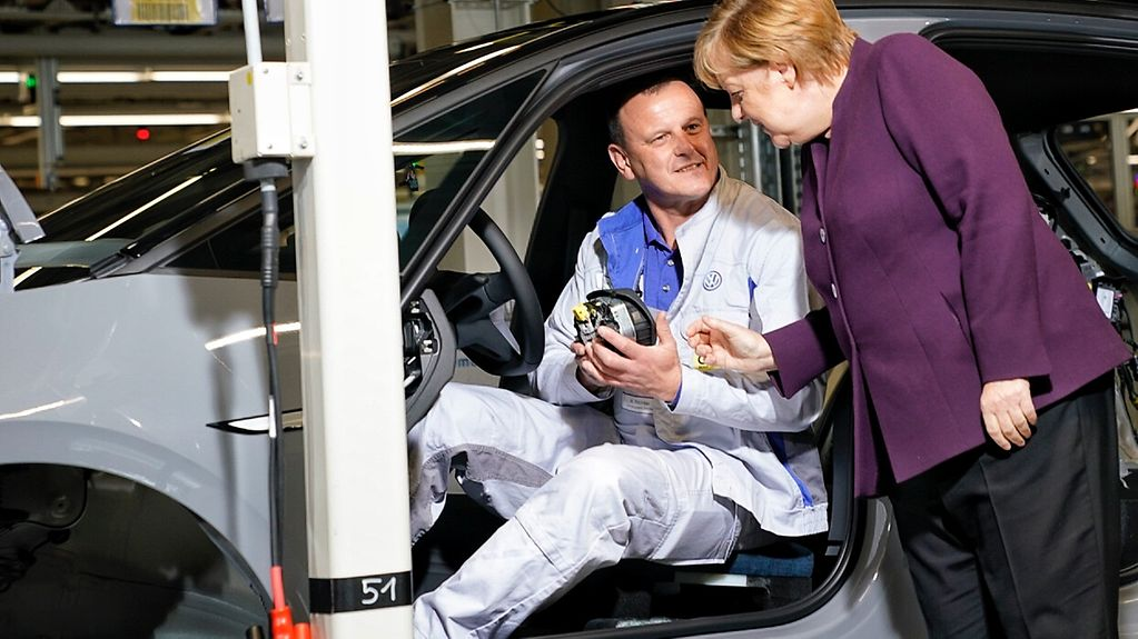 Chancellor Angela Merkel at the opening of Volkswagen's Zwickau plant