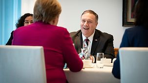 Chancellor Angela Merkel during her talks with US Secretary of State Mike Pompeo