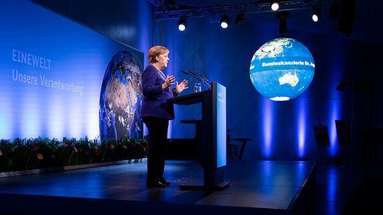 Chancellor Angela Merkel speaks at the launch of the Federal Development Ministry's SDG campaign.