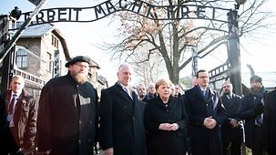 Chancellor Angela Merkel during her visit to the former concentration camp in Auschwitz