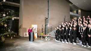 Chancellor Angela Merkel speaks at the reception for the German WorldSkills team.