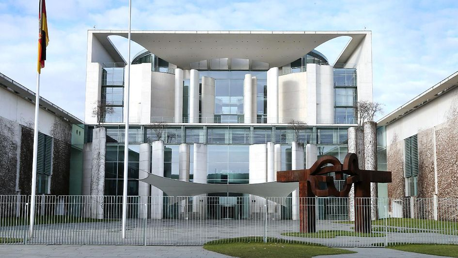 View of the outside of the Federal Chancellery in Berlin