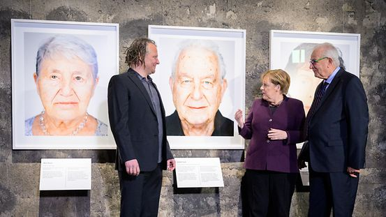"Chancellor Angela Merkel at the opening of the ""Survivors"" exhibition"