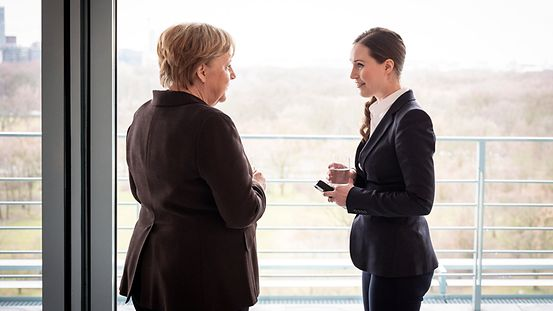 Chancellor Angela Merkel with Finnish Prime Minister Sanna Marin