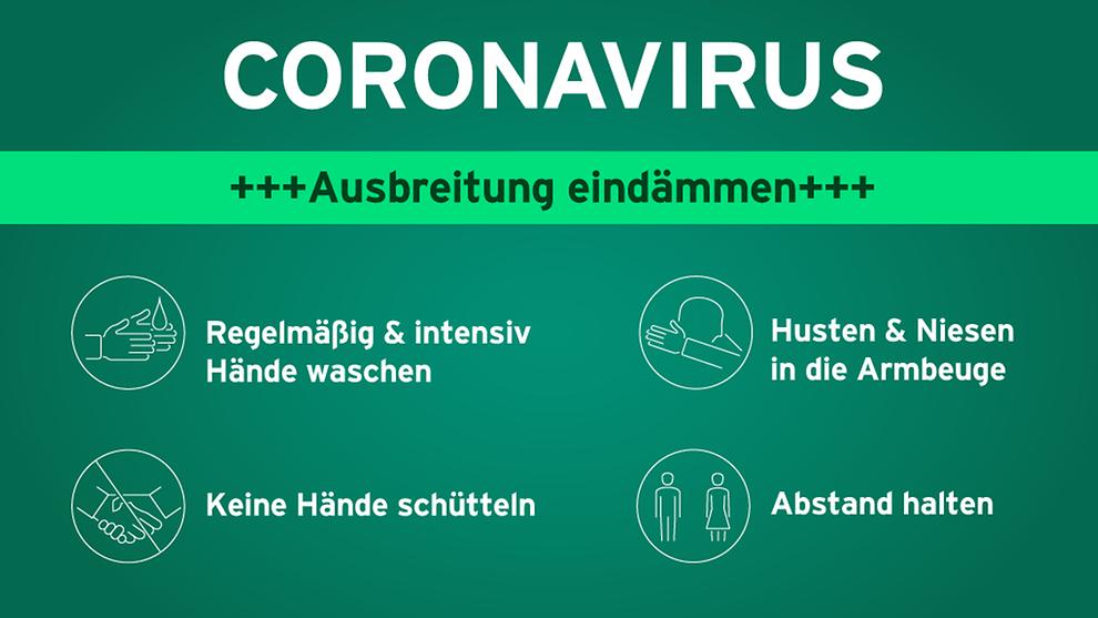 """Unter der Überschrift """"Coronavirus - Ausbreitung eindämmen"""" stehen die Hinweise Regelmäßig und intensiv Hände waschen, Keine Hände schütteln, Husten und Niesen in die Armbeuge und Abstand halten"""