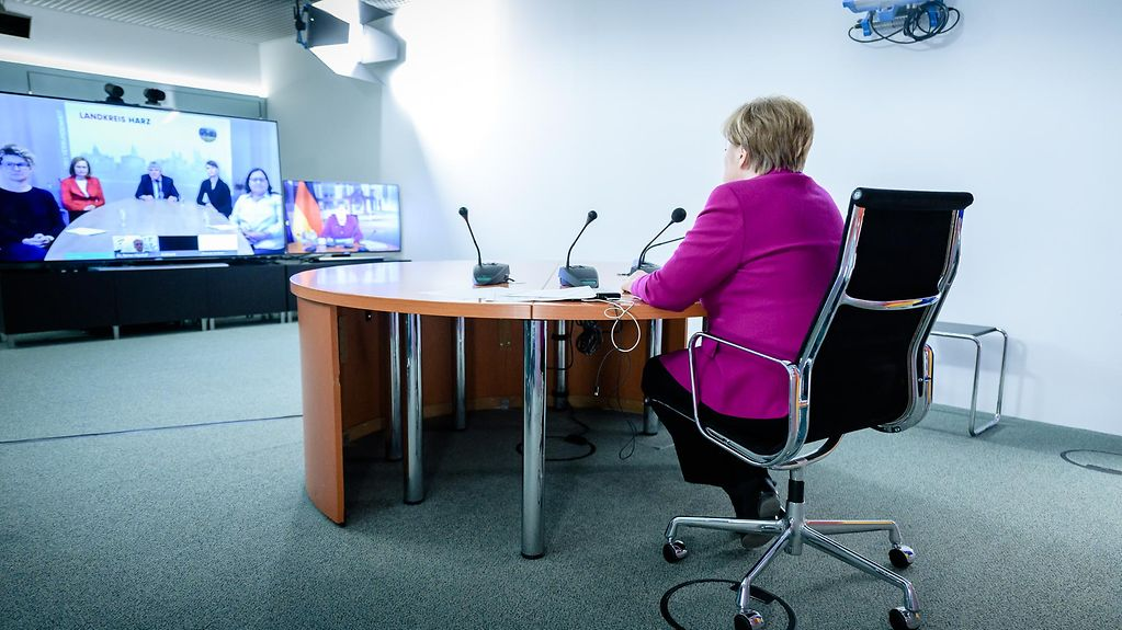 Chancellor Angela Merkel during a video conference with the Harz District Health Office