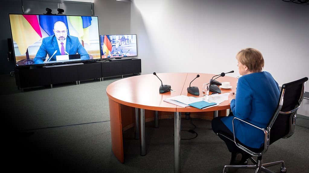 Chancellor Angela Merkel during a video conference with Denys Shmyhal, Prime Minister of Ukraine