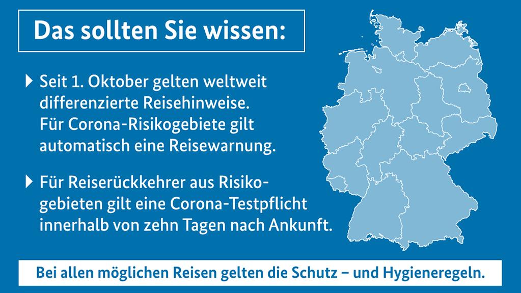 """Die Grafik zeigt eine Deutschlandkarte und erklärt die Regelungen für Reisende und Pendler (Weitere Beschreibung unterhalb des Bildes ausklappbar als """"ausführliche Beschreibung"""")"""