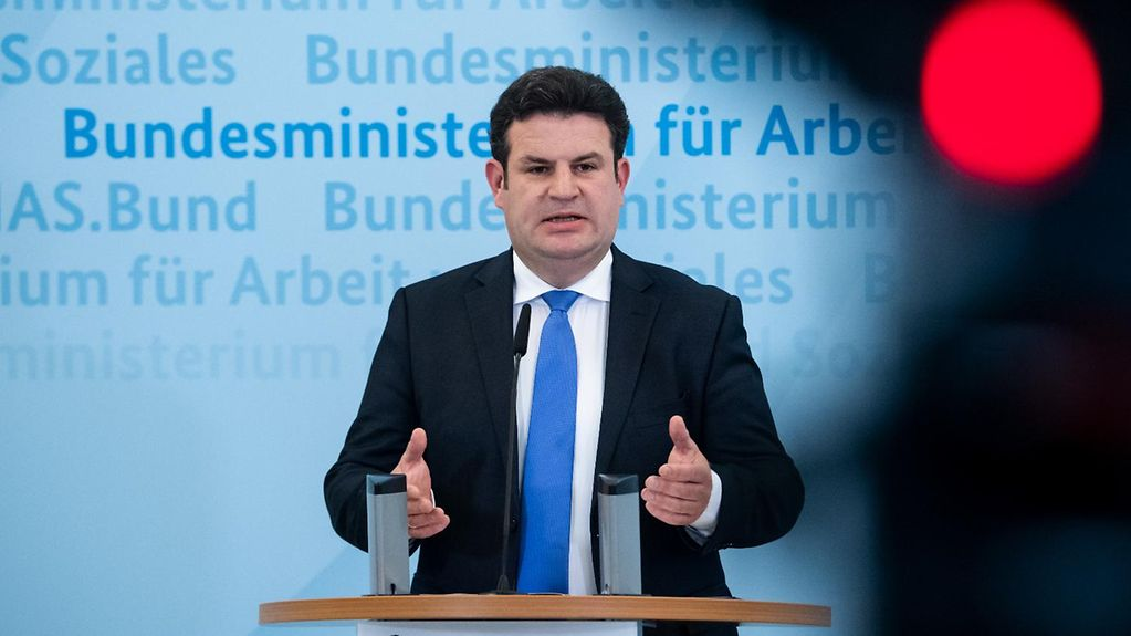 Federal Labour and Social Affairs Minister Hubertus Heil at a press conference