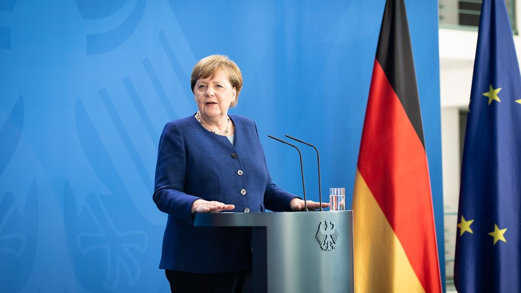 Chancellor Merkel gives a statement to the press following the video conference with representatives of international organisations.