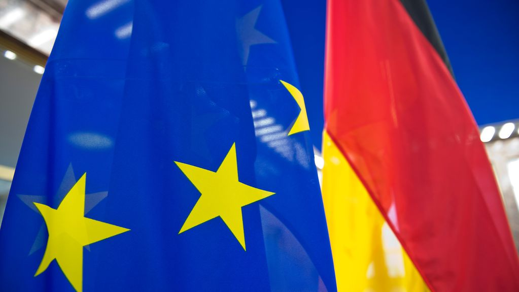 EU flag and German flag