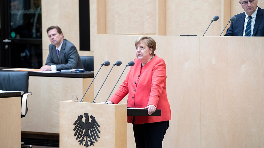 Chancellor Angela Merkel gives a speech in the Bundesrat on Germany's Presidency of the Council of the European Union.