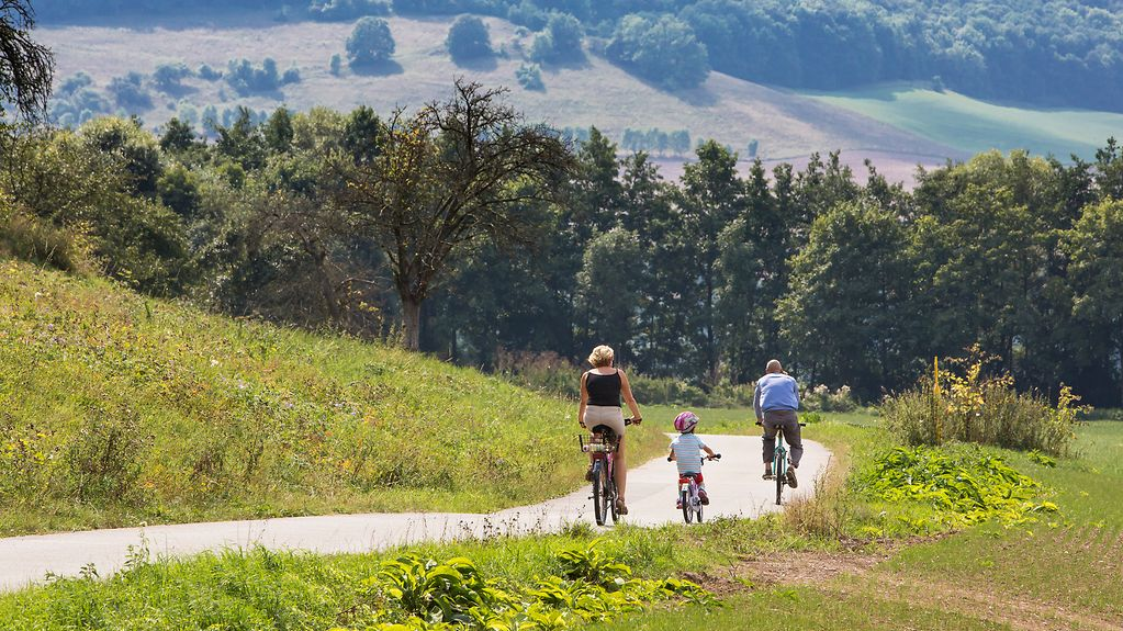 The photo shows a family cycling down a country road.