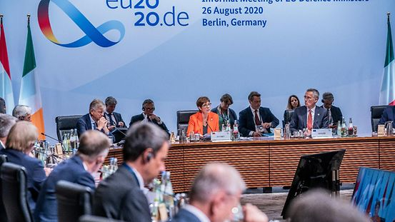 Annegret Kramp-Karrenbauer (CDU, centre, back), Federal Defence Minister, speaks at the start of the informal meeting of EU defence ministers; she sits next to Jens Stoltenberg (2nd from right), NATO Secretary General.