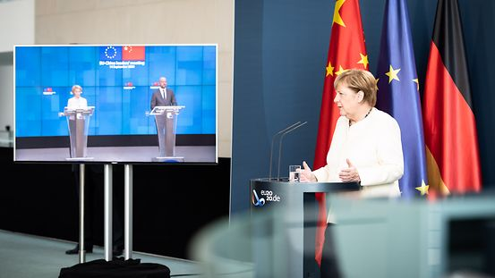 Chancellor Angela Merkel gives an online press conference with Charles Michel and Ursula von der Leyen.