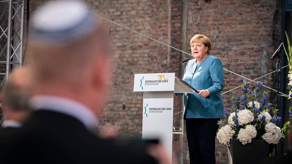 Chancellor Angela Merkel during her speech at the ceremony to mark the 70th anniversary of the Central Council of Jews in Germany