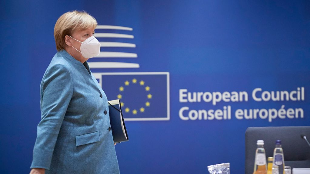 Chancellor Angela Merkel arrives at a meeting of the European Council.