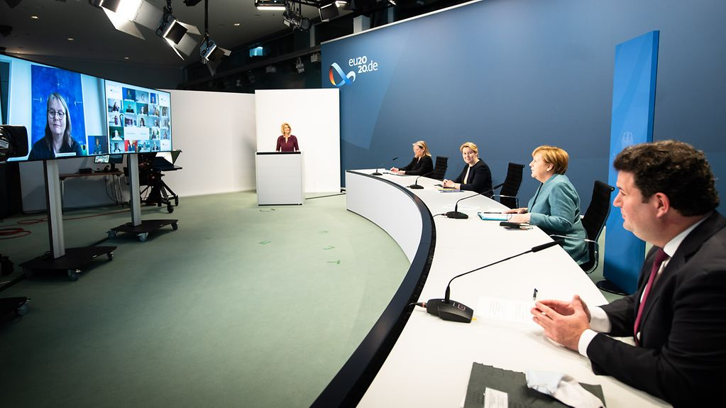 Chancellor Angela Merkel during a video conference with nursing associations within the framework of the Concerted Action on Nursing scheme