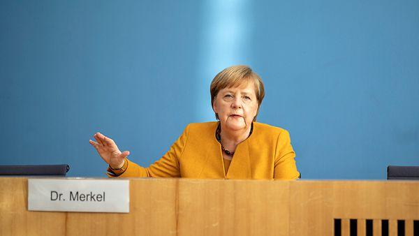 Bundeskanzlerin Angela Merkel während einer Pressekonferenz zur Corona-Pandemie.