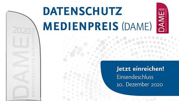 Logo vom Datenschutz Medienpreis DAME 2020