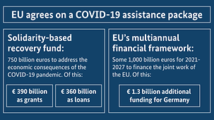 The diagram shows the two main outcomes of the European Council meeting: agreement on the recovery fund and the multiannual financial framework for the period 2021-2027