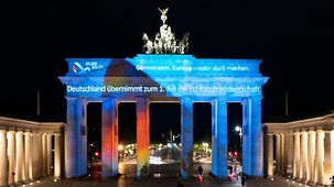 The Brandenburg Gate is illuminated to mark the start of Germany's 2020 Presidency of the Council of the European Union.
