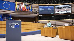 Chancellor Angela Merkel speaks in the debating chamber of the European Parliament at the start of Germany's Presidency of the Council of the European Union (at top left David Maria Sassoli, President of the European Parliament).