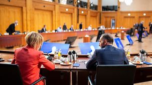 Heiko Maas in the conference room during the Gymnich meeting with foreign affairs ministers of the member states of the European Union