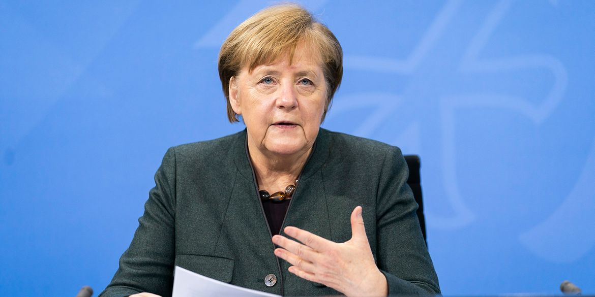 Chancellor Angela Merkel at the press conference following the consultations between federal and state governments