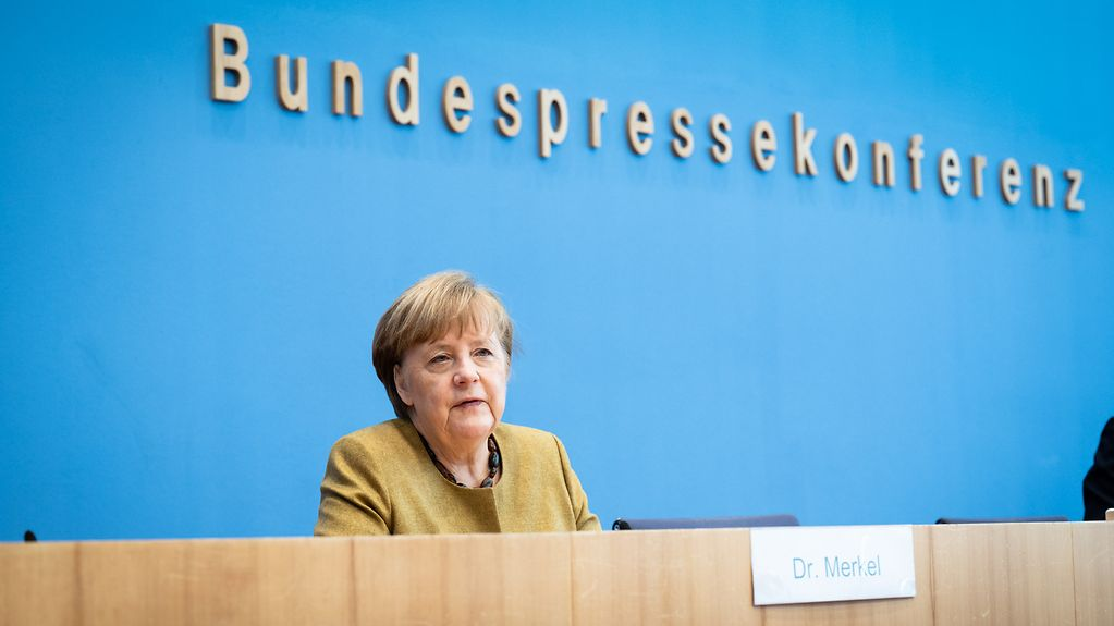 Chancellor Angela Merkel at the press conference on the latest response to the pandemic