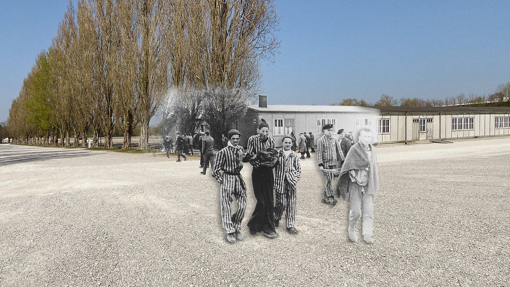 Photo montage of prisoners supporting one another on the parade ground of the concentration camp in Dachau