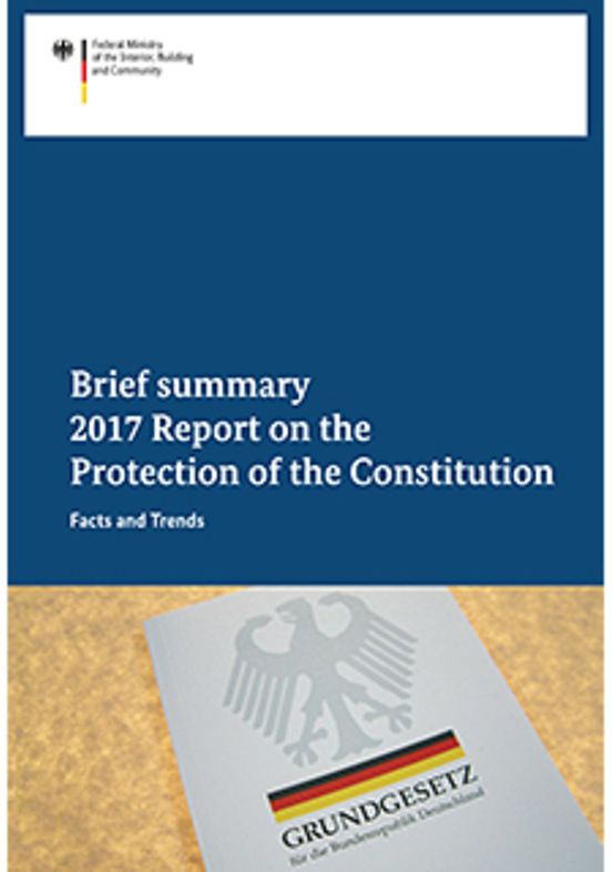 "Titelbild der Publikation ""2017 Report on the Protection of the Constitution - Brief summary"""