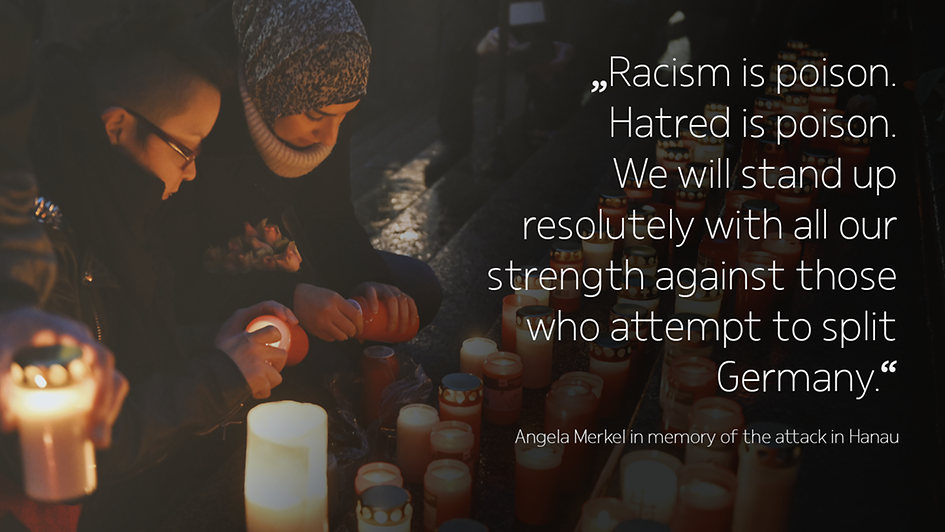 The photo shows two young people in the dark holding candles; behind them many candles shine. Beside them is a quote from Angela Merkel.