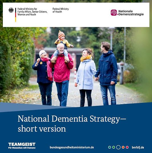 "Titelbild der Publikation ""National Dementia Strategy - Following the adoption of the German National Dementia Strategy in 2020, the English translation of the strategy is now published as short version"""