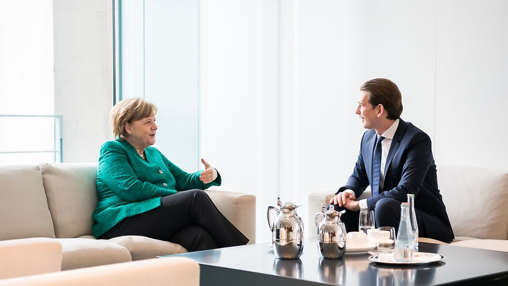 Chancellor Angela Merkel and Chancellor Sebastian Kurz during talks at the Federal Chancellery