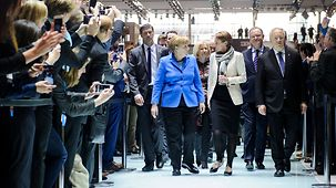 Chancellor Angela Merkel deep in conversation with Martina Koederitz, General Manager of IBM Germany