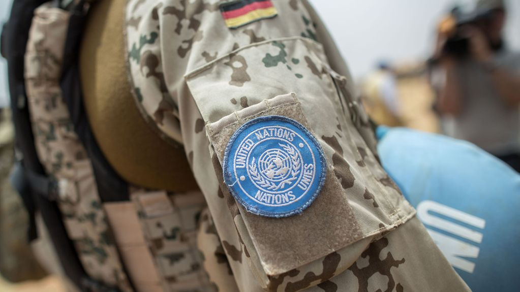 The UN badge on the arm of a soldier who is part of the German contingent in Mali