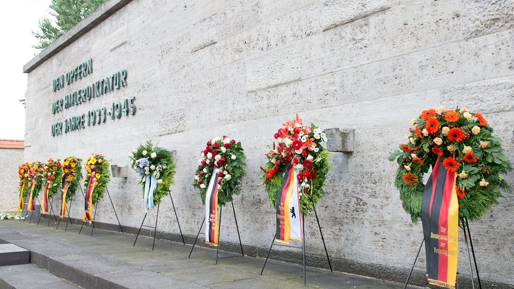 Wreaths at the memorial centre at the former National Socialist execution yard in Berlin-Plötzensee