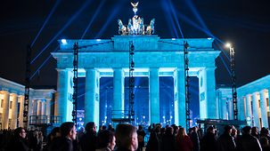 The Brandenburg Gate in blue