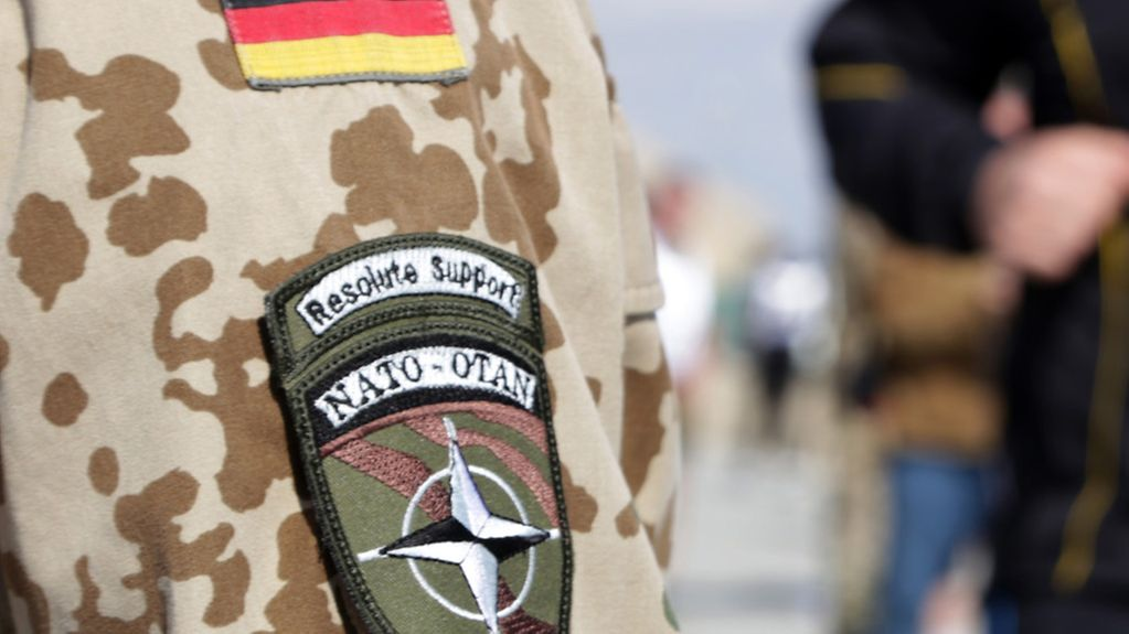 German soldier with a Resolute Support Mission badge