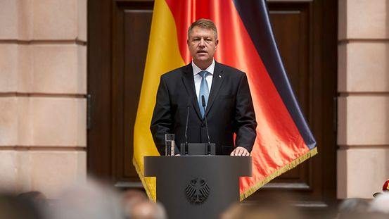Romania's President Klaus Iohannis speaks at the central ceremony of the German government in remembrance of the victims of displacement and expulsion.