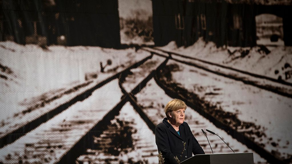 Chancellor Angela Merkel at a Holocaust remembrance ceremony