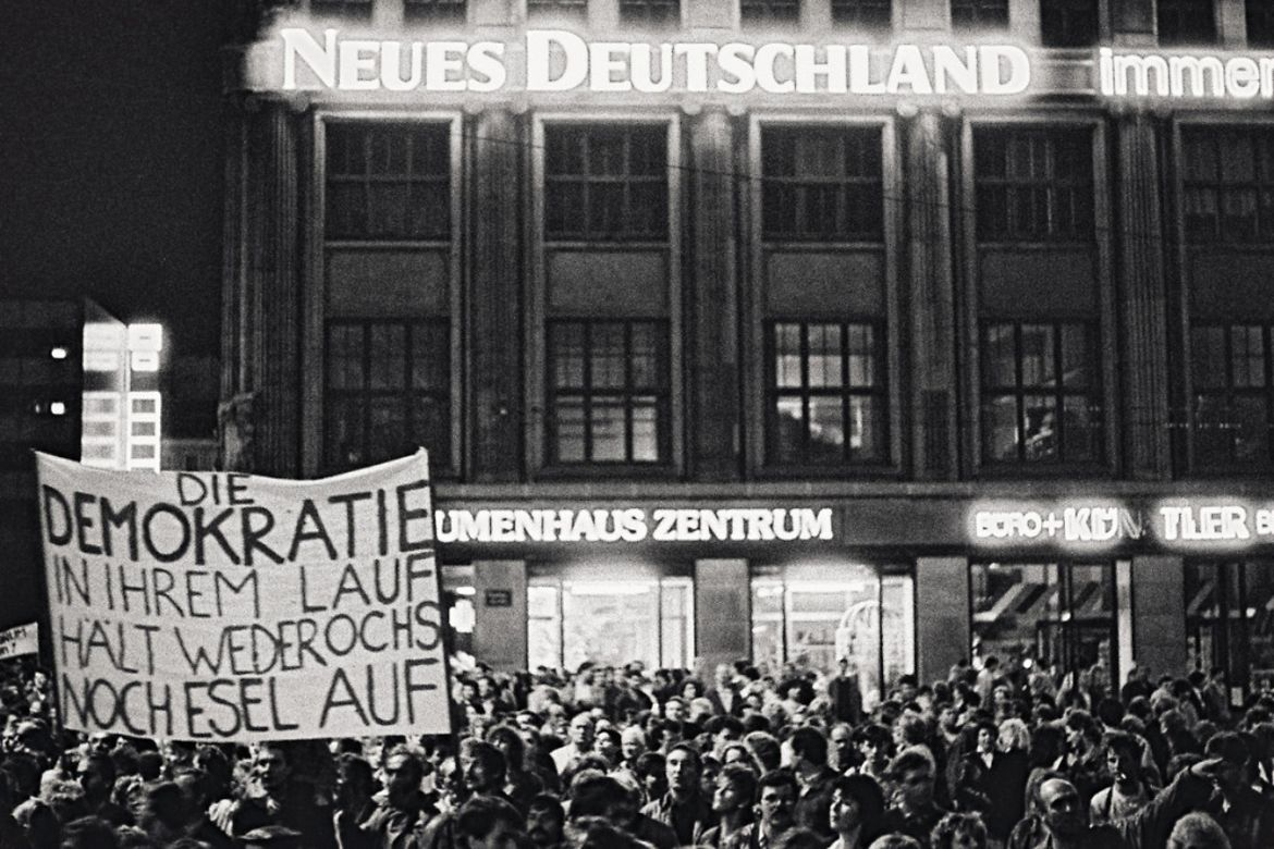Protestors in front of the Karl Marx University in Leipzig