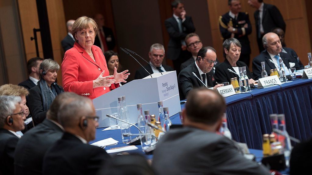 Chancellor Angela Merkel speaks at the Petersberg Climate Dialogue.