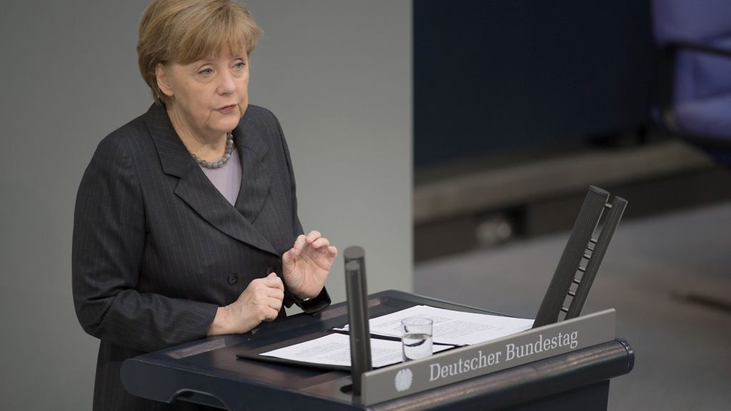 Chancellor Angela Merkel delivers a government statement on Ukraine n the German Bundestag.